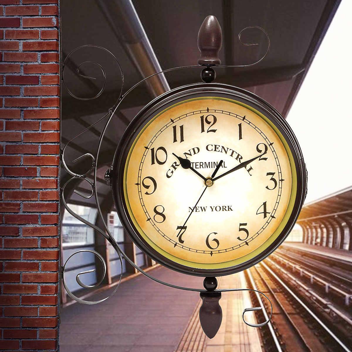 Ретро двухсторонние вращающиеся настенные часы металлические подвесные часы Открытый/дом/сад Декор часы в европейском стиле подарок настенный + кронштейн