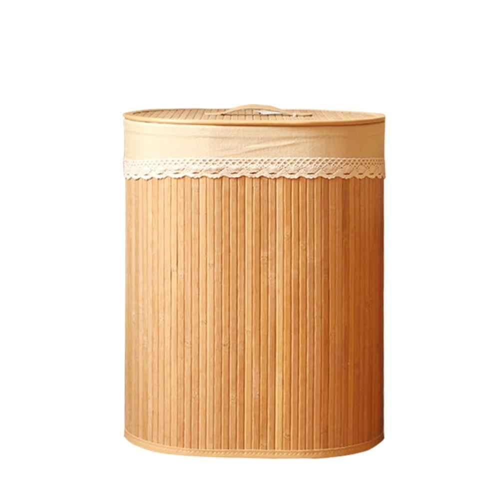 Dobrável Cestas De Lavanderia De Bambu Cesto Com Tampa de Pano Forro Roupas Saco De Armazenamento de Artigos Diversos Brinquedos Classificador Bin Organizador Casa