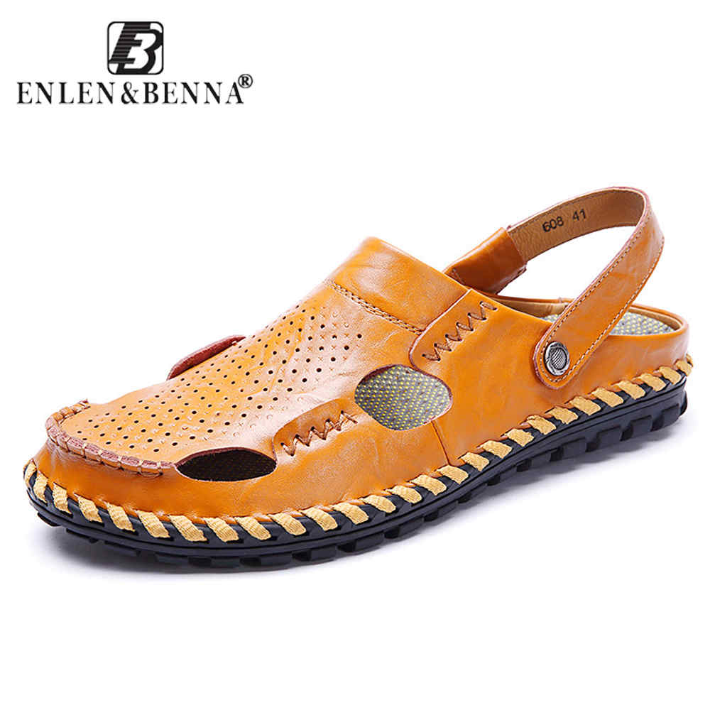 Summer Breathable Beach Sandals Men Genuine Leather Slippers Elastic Sneakers Sandals Causal Shoes Male Flip Flops Large Size
