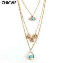 Женское многослойное ожерелье chicvie длинная цепь ожерелья