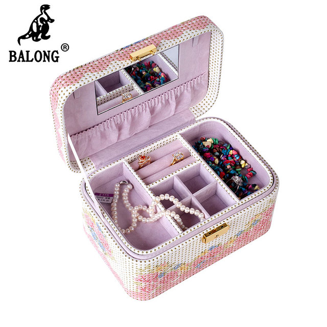 Elegant Jewelry Container Necklace Earring Jewellery Box Cosmetic Case Jewelry Organizer Birthday Gift for Women Jewelry Cases