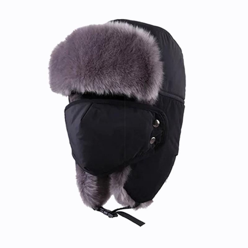 Tnine Hat 2017 New Face Mask mens hat Windproof Hat Winter Fur Hats Windproof Thick Warm Winter Snow Women Cap