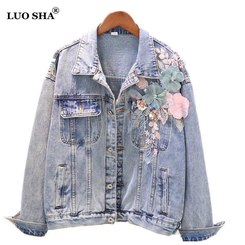 Shop For Cheap 2018 Autumn New 3d Pattern Nail Beads Embroidered Hole Denim Jacket Female Loose Long Sleeve Student Jeans Coat Outwear Feminino Basic Jackets Jackets & Coats