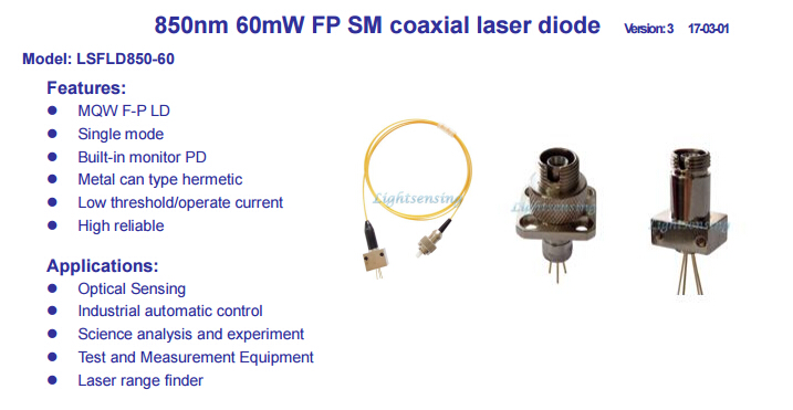 <font><b>850nm</b></font> FP <font><b>laser</b></font> <font><b>diode</b></font> <font><b>laser</b></font> Multimode fiber output power 60mW coaxial image