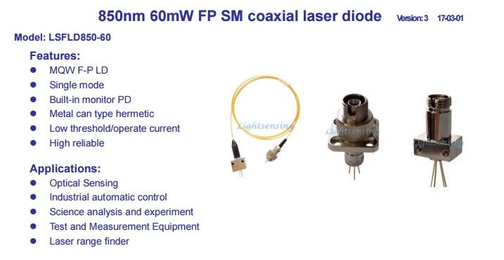 850nm FP laser diode laser Multimode fiber output power 60mW coaxial850nm FP laser diode laser Multimode fiber output power 60mW coaxial