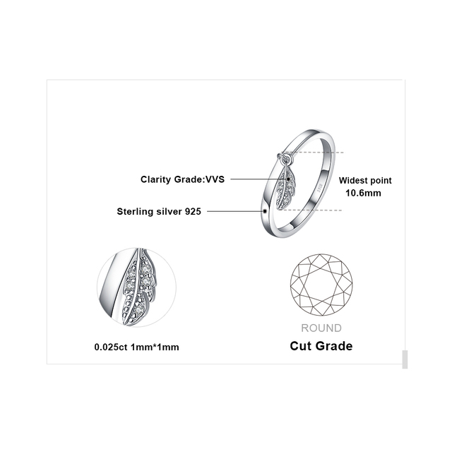 Leaf Charm Sterling Silver Ring