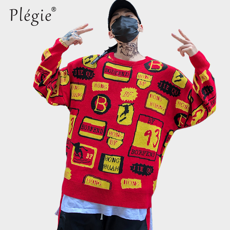 Plegie Winter Christmas Sweaters 2018 Letter Graffiti Printing Knitted Men Sweater Hip Hop Harajuku Fashion Red Pullovers