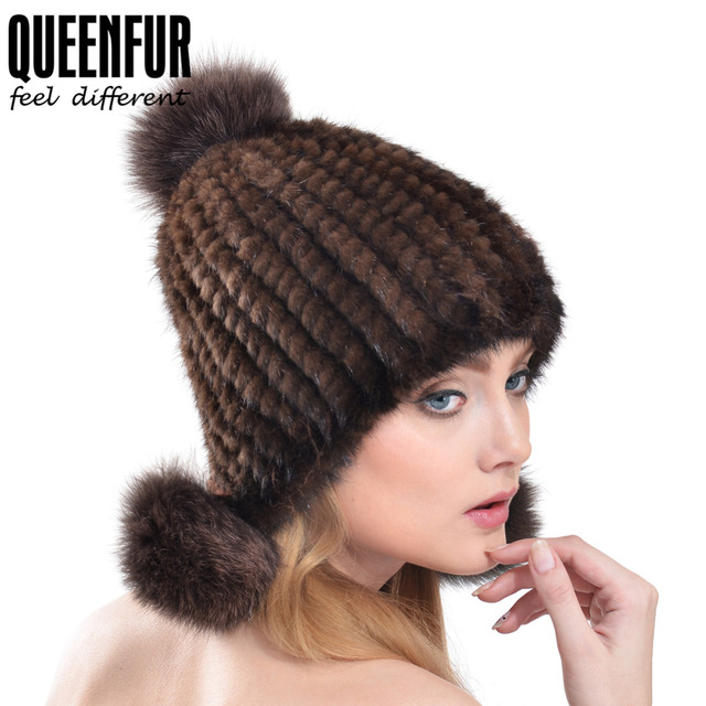 QUEENFUR Real Knitted Mink Fur Caps With Fox Fur Pom Poms Tops Hat For Women 2016 Fashion Genuine Fur Ear Protector Bomber Hats