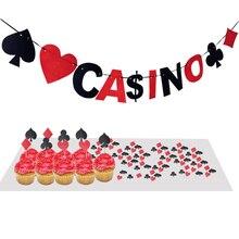 200pcs Poker Table Confetti Paper First Birthday Boy Party Decoration Casino Confetti/Banner Las Vegas Theme
