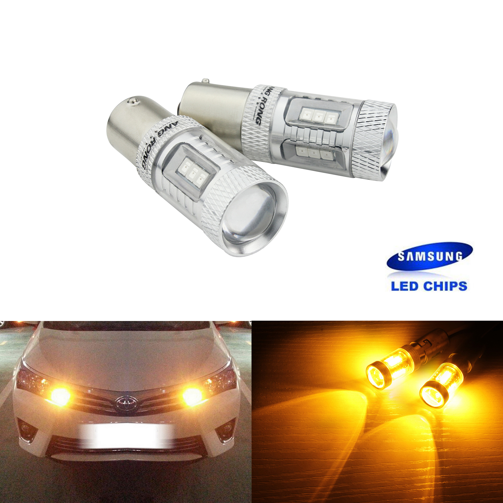 ANGRONG 2X BA15s P21W 1156 382 Bulbs SAMSUNG LED Sidelight Tail Stop Turn Light DRL Amber