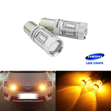 ANGRONG 2X BA15s P21W 1156 382 Bulbs SAMSUNG LED Sidelight Tail Stop Turn Light DRL Amber 2 blanco p21w 50w led cree chips 1156 382 ba15s drl bombillas durante el drl luces de marcha atras indicadores for skoda vw audi