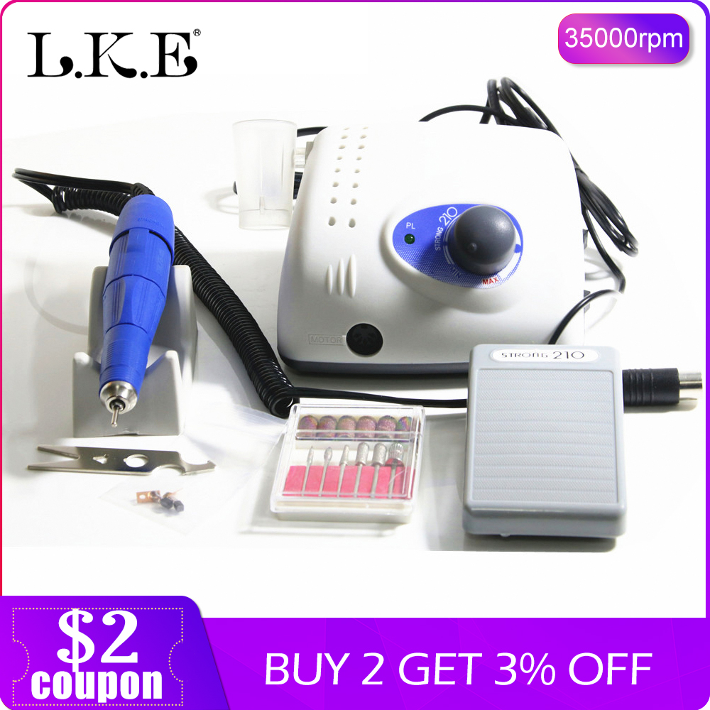 LKE 35000RPM new Strong 210 102L 65W Nail Drills Manicure Machine Pedicure Electric File Bits Nails Art Equipment Nail Treatment