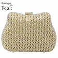 Elegant Hollow Out Women Beaded Crystal Gold Evening Metal Clutches Handbags Bridal Purse Hard Case Wedding Chain Shoulder Bag