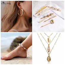 2019 Bohemian Seashell Jewelry Sets For Women Round Geometric Earrings Chain Necklace Pearl Hairclip Shell Anklet NE+BR+EA
