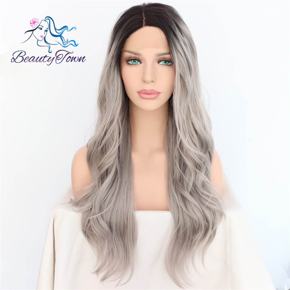 BeautyTown Black Ombre Grey Handmade Heat Resistant High Temperature Hair Blogger Daily Makeup Synthetic Lace Front Party Wigs-in Synthetic None-Lace  Wigs from Hair Extensions & Wigs    1