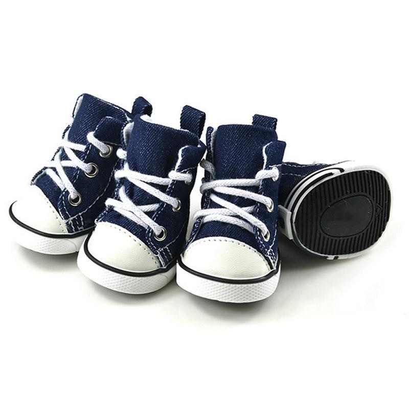 2018 Puppy Pet Dogs Shoes Boots Denim Sport Boots Anti-slip Bootie Walk Causal Sneaker Large 4 PCS