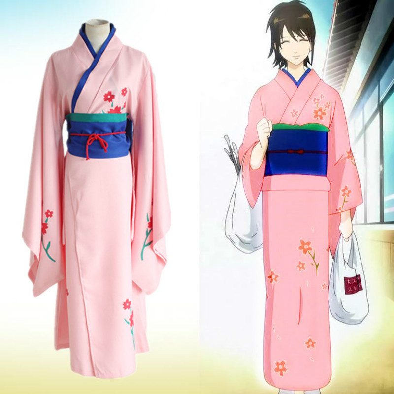 Japanese Anime Silver Soul Gintama Shimura Tae Cosplay Costume Kimono1 Piece With Waistband Free Shipping
