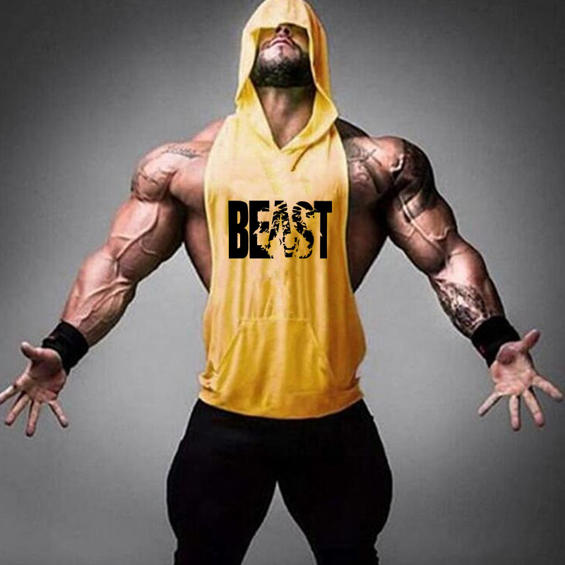 Brand Gym Clothing Fitness Men Cotton Tanktop With Hooded Mens Bodybuilding Stringers Tank Tops Workout Singlet Sleeveless Shirt