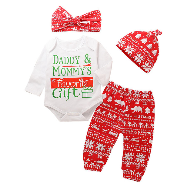 8e4f4875f 4PCS Newborn Kid Baby Girls Boy Outfit New Year's Christmas Clothes Long  Sleeve Romper Jumpsuit+Pants+Hat+Headband Home Clothes