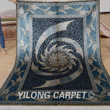 Yilong 5'x7.5′ Oriental silk carpet dark blue handmade exquisite Turkish silk rug (0796)