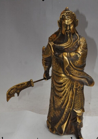 Copper Brass craft xd 003081 14 chinese bronze dragon stand guan gong guanyu Soldier General god