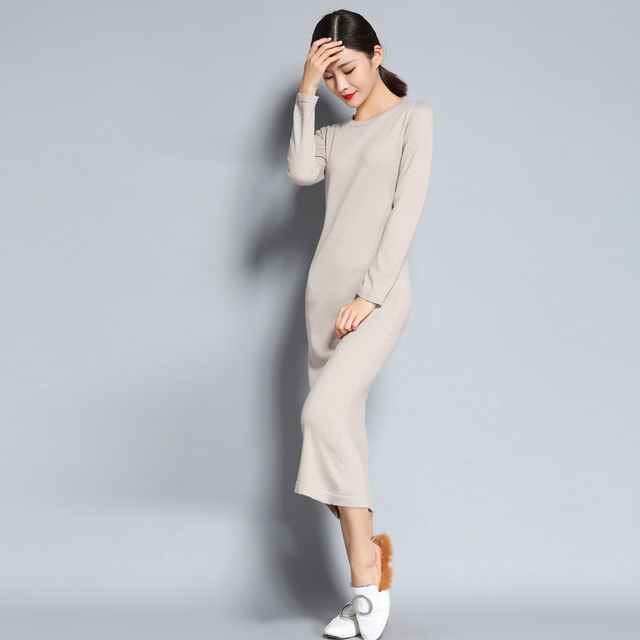4f59ffb5c77 2018 Autumn And Winter NEW Round Neck Cashmere Blended Sweater Dress Knit  Knee Wool Long Female Solid Color Pullover