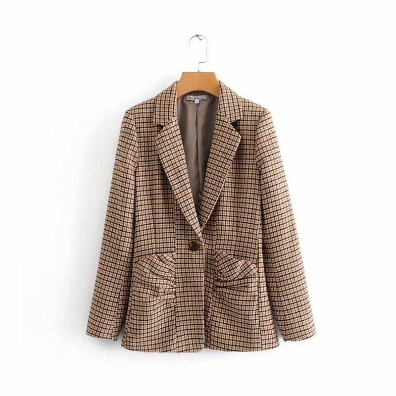Для женщин Новинка весны коричневый плед тонкий пиджак 2019 Для женщин-с длинным рукавом объемный накладной карман одной кнопки пиджаки chaqueta ...