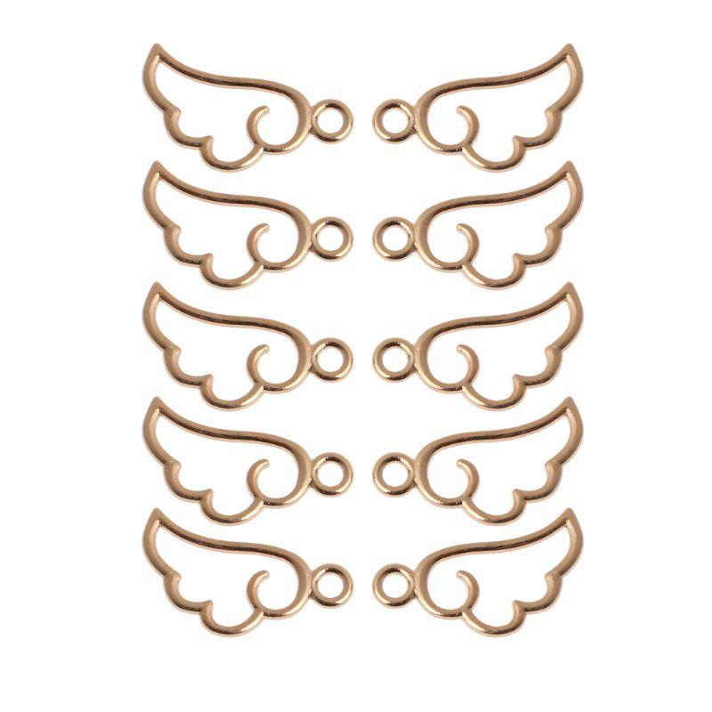 10Pcs Angel Wing Metal Frame Pendant Open Bezel Setting UV Resin Jewelry Charm