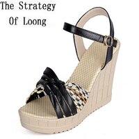 סגנון קוריאני טריזים שמנמן ארוג עקב לפתוח את לעטוף קרסול הבוהן נעלי נשים קיץ אופנה גודל 35-40 SXQ0610