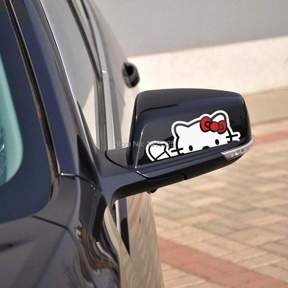 Aliauto 2 x Lovely Hello Kitty funny Car Rearview Mirror Stickers Decal for Toyota Chevrolet cruze VW skoda Hyundai Kia Lada