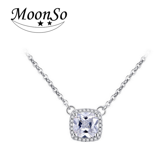 Moonso New Engagement NecklacesPendants with Free Chain CZ Zircon