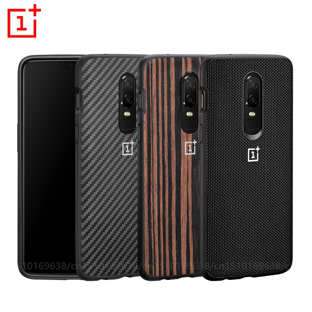 OnePlus 6 Bumper Case Original 100% Official back cover case All-round Protection Karbon Ebony Wood shell oneplus 6 coque