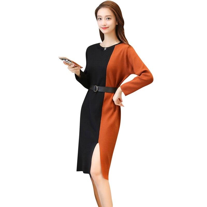Nouveau femmes cheveux répartis fourche chandail mini robe couleur correspondant ceinture fille pull tricots manches longues patchwork décontracté