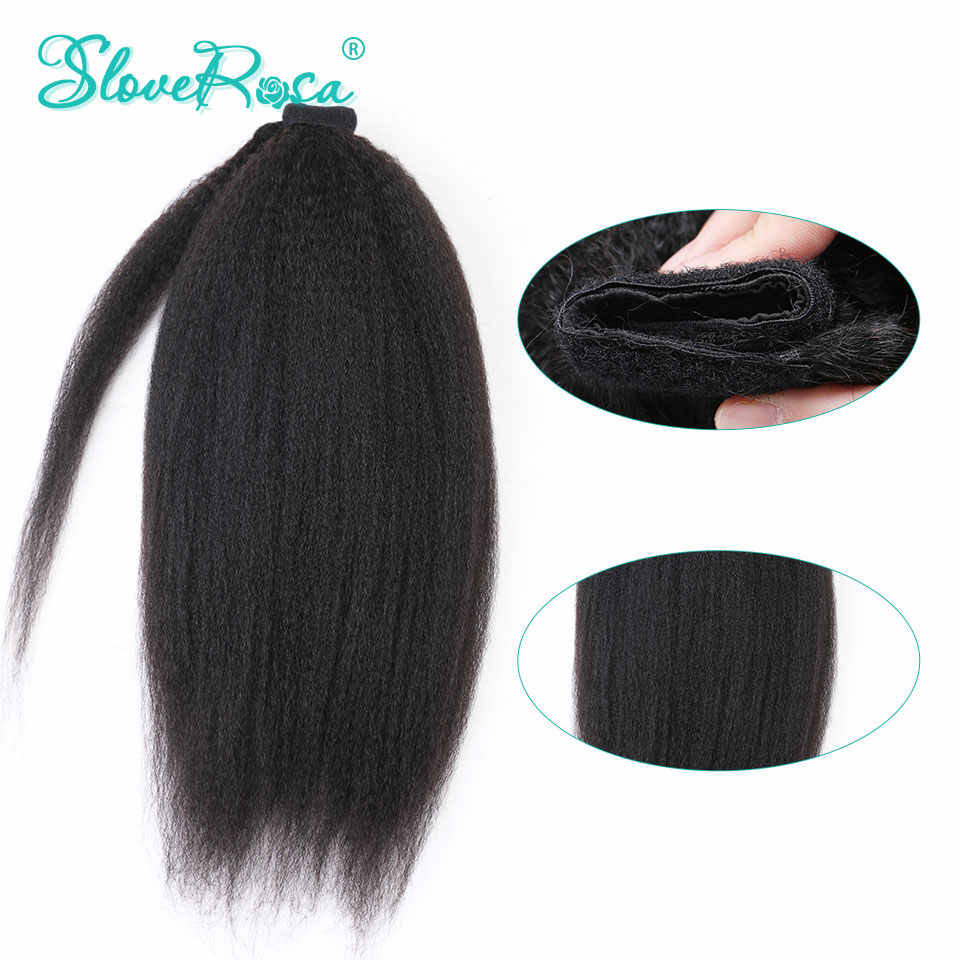 Kinky Straight Ponytails Brazilian Hair With Full End For Woman Natural Black Color 150g Remy Human Ponytails Clip-In Slove Rosa