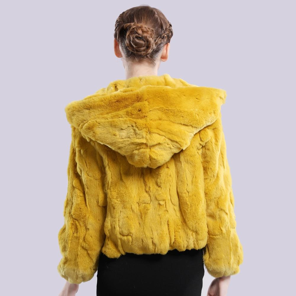 Image 5 - 2019 New Style Winter Genuine Real Rex Fur Jacket Women Fashion Brand Rex Rabbit Fur Coat Natural Rex Rabbit Fur Hooded Overcoat-in Real Fur from Women's Clothing