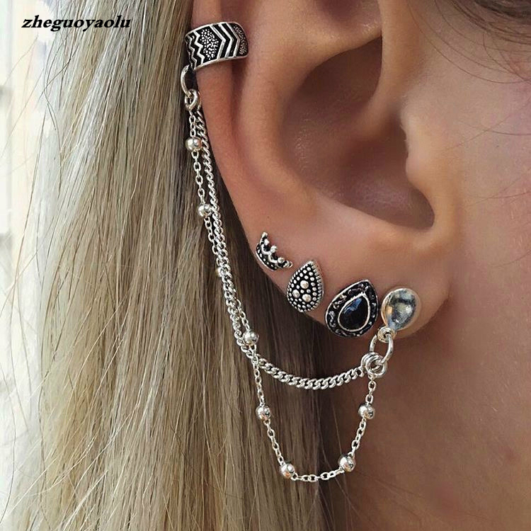 4pc/set Bohemian Retro Style Crown Water Droplets Chain Fashion Earrings For Women Ear Cuff With Chain Set Earrings Brincos 2017