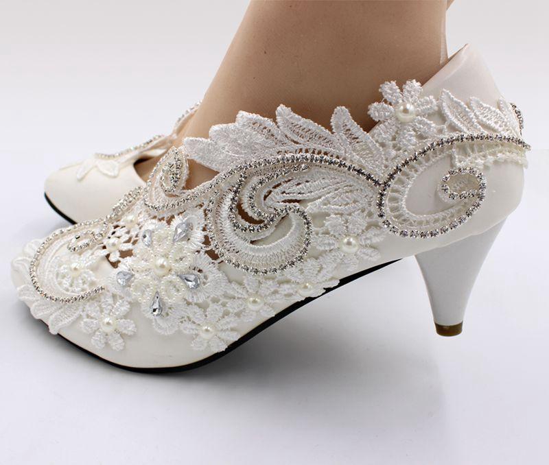 e73f3b87863aa Artesanal Luxo Ornamento 5cm Cadeia Nq189 Calcanhar 5 Casamento Sapatos  Cristal Médio Renda Prata Cm De ...