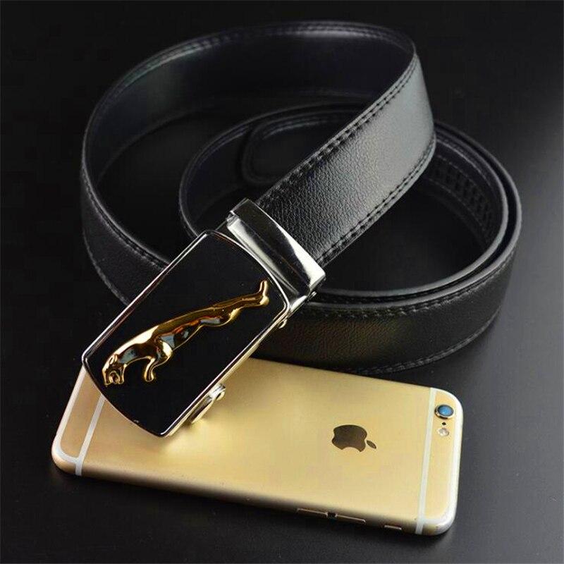 Jaguar pattern Mens automatic buckle belt Metal leopard leather belt for men Business casual Man suit belt