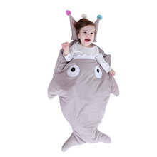 Cute Shark Baby Sleeping Bag Toddler Stroller Sleep Sack for Babies 0-12 Months, 95*54cm, Crown Design Pillow for Your Choice