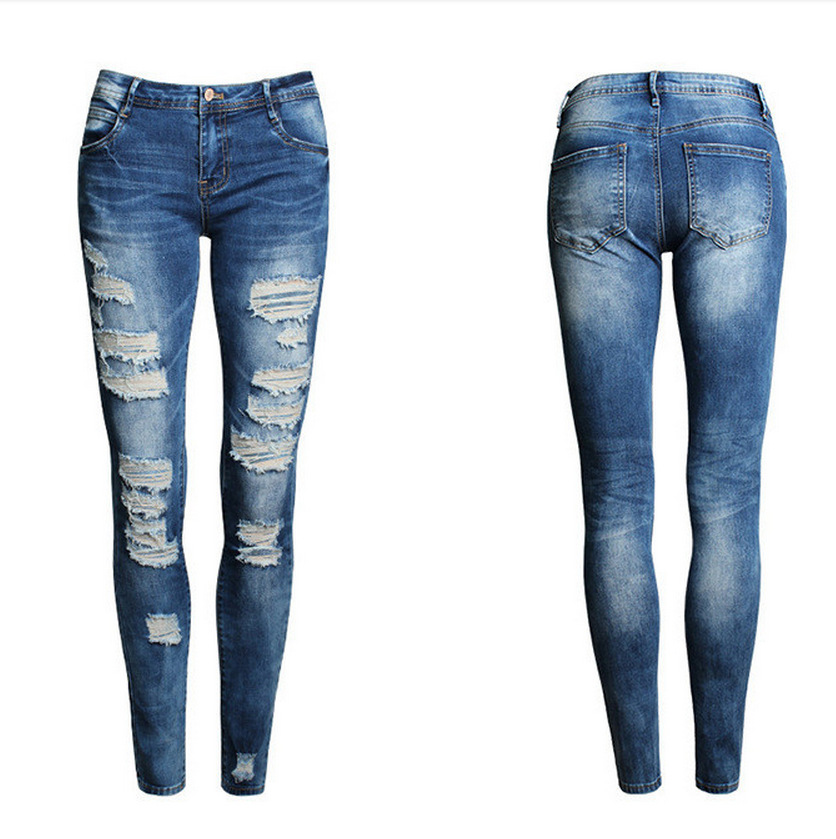Blue Jeans Pencil Pants Slim Hole Ripped Denim Jeans Casual Stretch Jeans 25