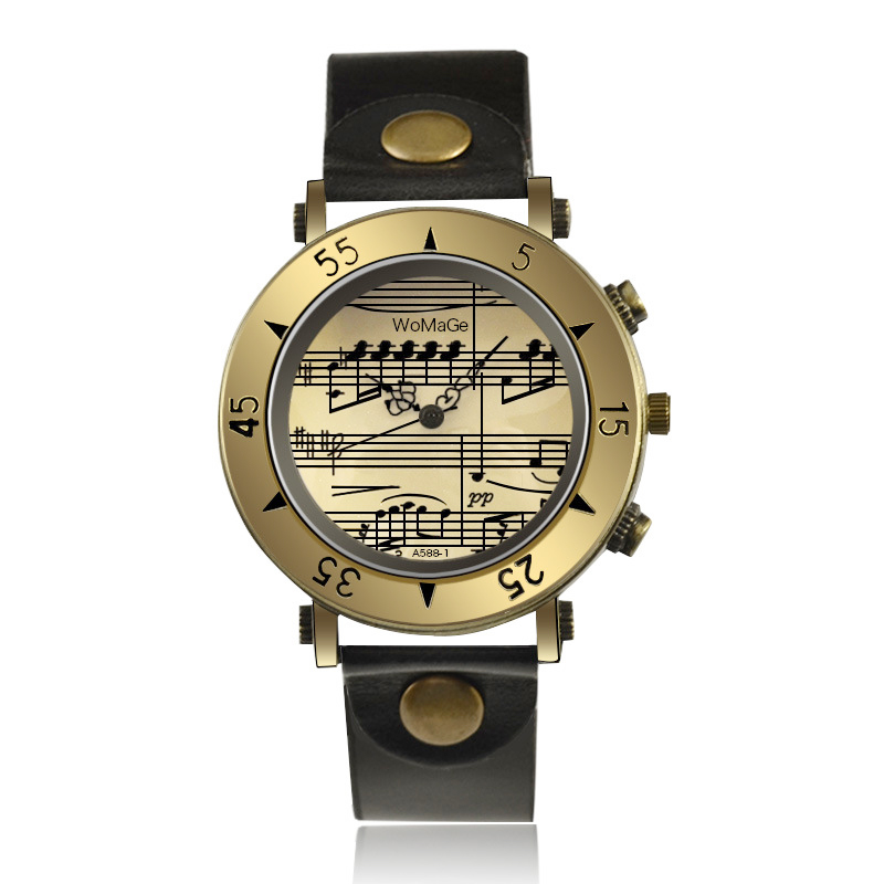 Classic Vintage Gold Men Watches Fashion Musical Note Quartz Man Wrist Watch Retro Casual Men Leather Clock Erkek Kol Saati 2019