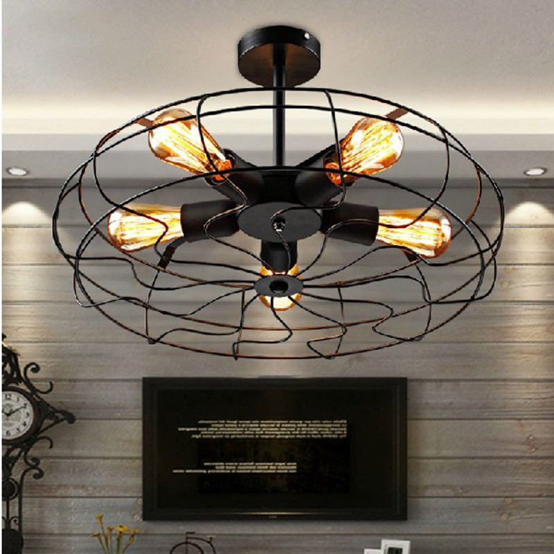 Light Industrial Gas Turbine: Retro Fan Ceiling Lights ASCELINA LOFT Vintage Industrial