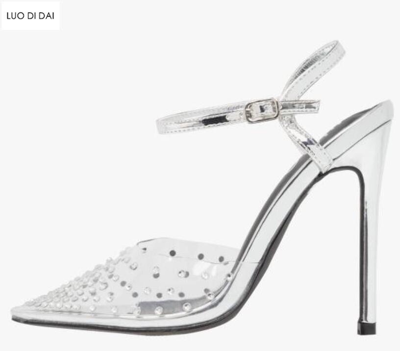 Tacchi Pompe argento Punta Scintillio Diamante Donne Vestito Partito Pvc Del Strass 2019 Blu Delle Alti Spillo Sposa Sexy A Da Scarpe Di HOgqcX1