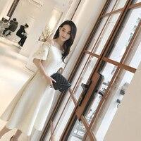 2018 Deva Mode Tweed Vintage Kleid Slash neck Weg schulter Hand machen Appliques Beige Romantische Hepburn Kleid