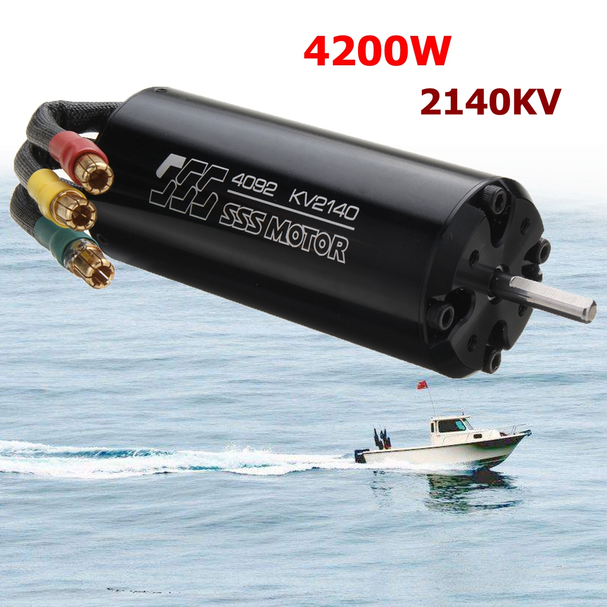 SSS 4092/2140KV Brushless Motor 4 Poles W/O Water Cooling For RC Boats цена