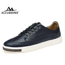 ALCUBIEREE Mens Brogue Shoes Casual Sneakers Men Fashion Bullock Shoes Men Genuine Leather Skateboarding Shoes Zapatos De Hombre