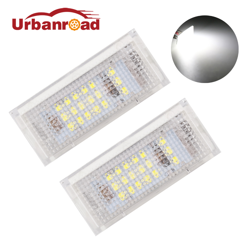 Urbanroad 2x 12V 3528 SMD Car Led Number License Plate Lights For BMW E46 4D 323i 325i 328i White Led Plate Lamp Bulb Kit 6000K 2pcs car led number license plate lights lamp frame 12v white smd led bulb kit for chevrolet cruze camaro 2010 2014 accessories