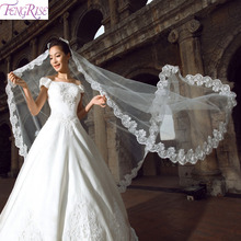 FENGRISE Lace Tulle Veil With Embroidery Appliques Off White Bridal One Layer Bride To Team Be Wedding Party Supplies