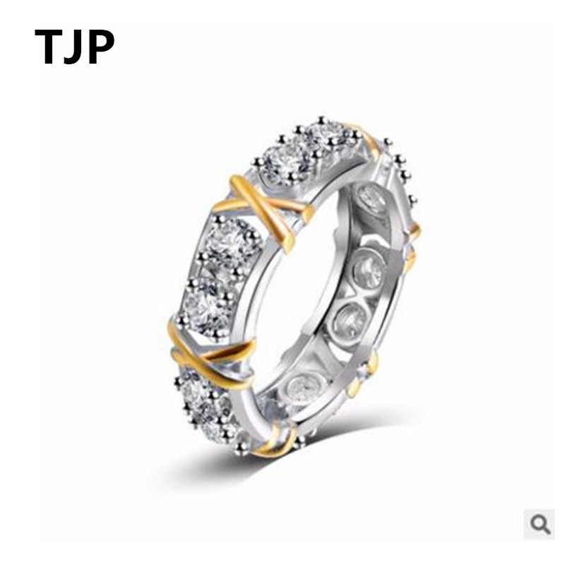 TJP Fashion 925 Sterling Silver Ring For Women Wedding Party Clear Crystal CZ Gold Cross Girl Lady Finger Jewelry Dropshipping