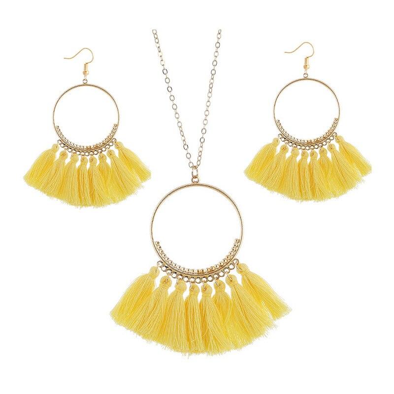 cjh023 Christmas Hoops Tassle Tassel Earrings Necklace Set Drop Fringe Necklace Set